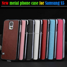 Fashionable Crazy Horse Pattern Metal cover + PU Smart Cell Phone Case for Samsung GALAXY S5 i9600