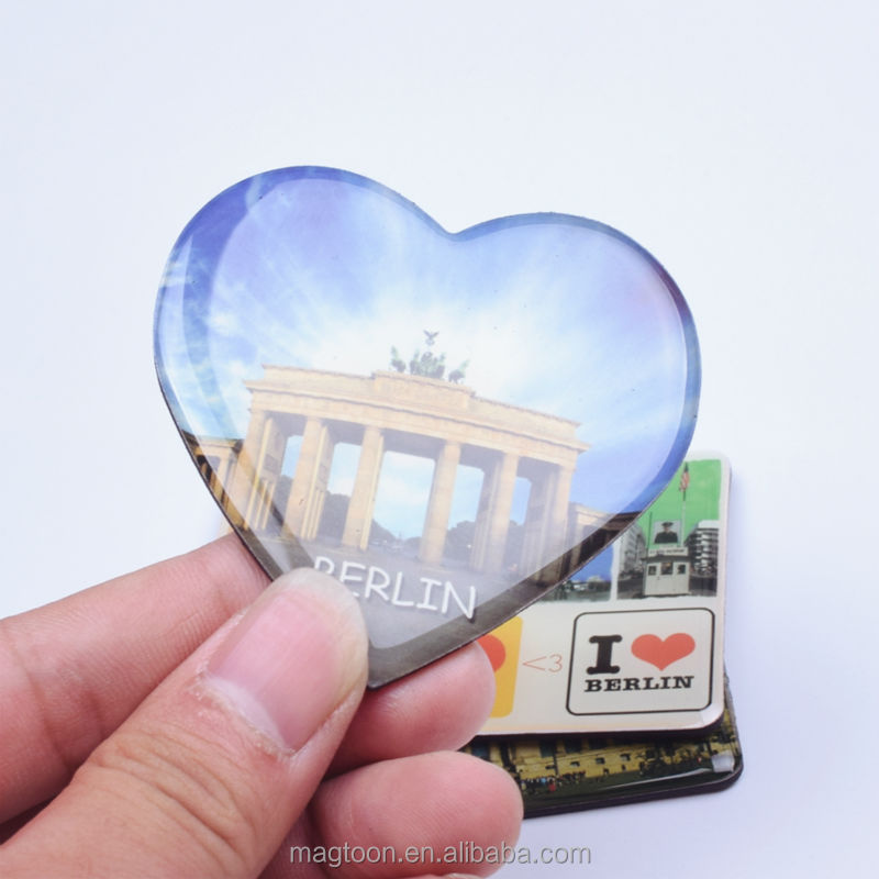 2016 custom heart shape Berlin souvenir poly resin fridge magnets