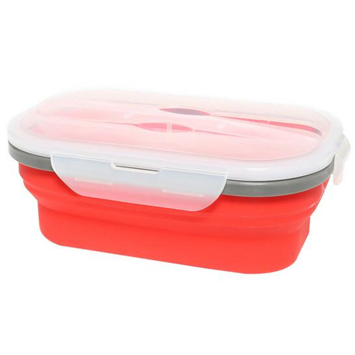microwave safe heat resistant 1 Compartment 800ml silicone folding lunch box