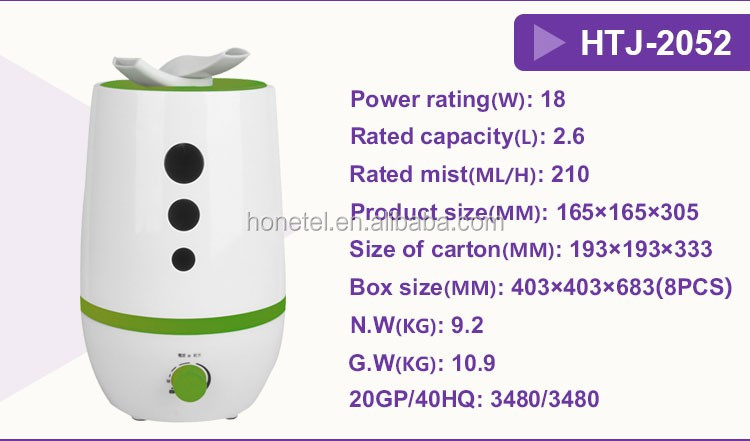 2.6L original Office nebulizer electric adjustable mist volume big capacity Ultrasonic Humidifier