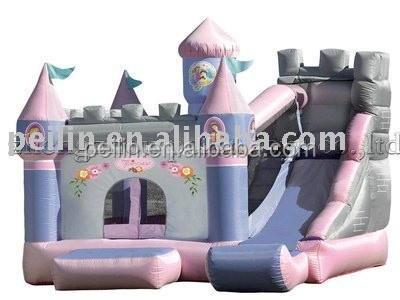pink gray inflatable bouncy slide, jumping slide, sports <strong>game</strong>
