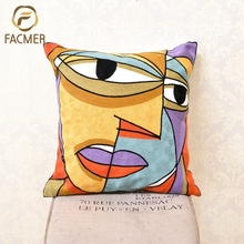 Picasso handmade Abstract decorative Fabric Embroidery Cushion Cover sofa Pillow Cover