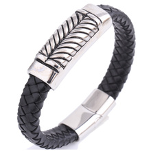 Hot Sell Classical Double Layer Handmade Genuine Leather Weaved Man Bracelets Fashion Good Steel Wristband