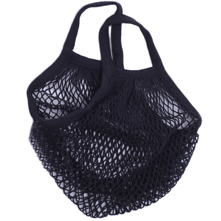 China Produced Reusable Hanging Cotton Net String Black Mesh Bag For Storage