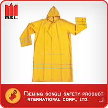SLF-9096 PVC/Polyster long rain suit/rain wear with reflective tape