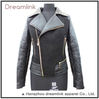 Wholesale 100% viscose pu leather jacket for women custom