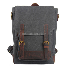 2014 best laptop genuine leather vintage canvas backpack for college students