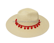 Wholesale Pompon Decorate Foldable Sunscreen Panama Straw Hat
