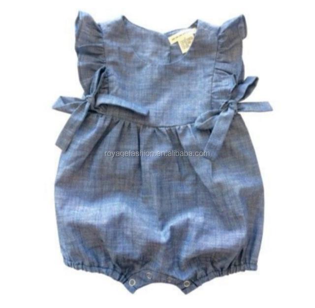 Latest Baby Girls ruffle Denim Romper With Flutter Sleeve boutique summer bodysuit wholesale