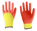MHR 13 gauge orange nylon knitted palm coated Red nitrile gloves, sandy finish