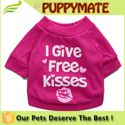 """I give free kisses"" puppy clothes dog jacket T-shirt high quality clothing"