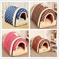 Foldable Pet Dog Cat Sponge House Tent Bed, house Shape Warm Kennel
