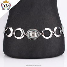 BEYQ-00002 latest design fancy Rectangular glass blue beads antique silver belt waist belly chain