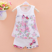 2017 Lovely Butterfly Bow Summer Sleeveless Baby Clothes Set Cute Bunny Appliqued Little Girl Outfits Matching Shirt and Pants