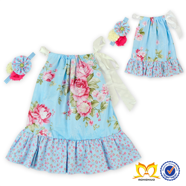 Adorable Girl Aqua Blue Flower Dress With Ruffle And Headband Set Dress Up Baby Doll Games Dress Summer Childrens Clothes
