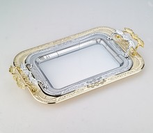 stainless steel gold hotel serving tray with metal handles room serving tray