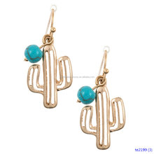 Alli Wholesale Outlined Cactus Dangle Earring Gold Jewelry