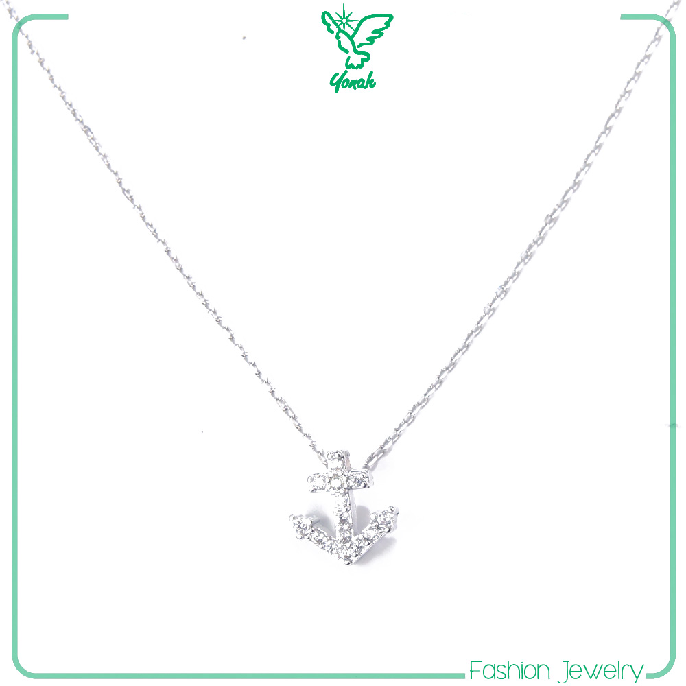 zircon anchor silver fashion necklace choker