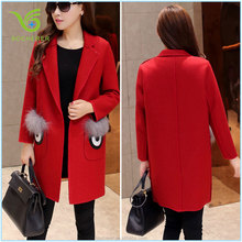 2016 fashion winter red warm ladies long coat with fur pocket