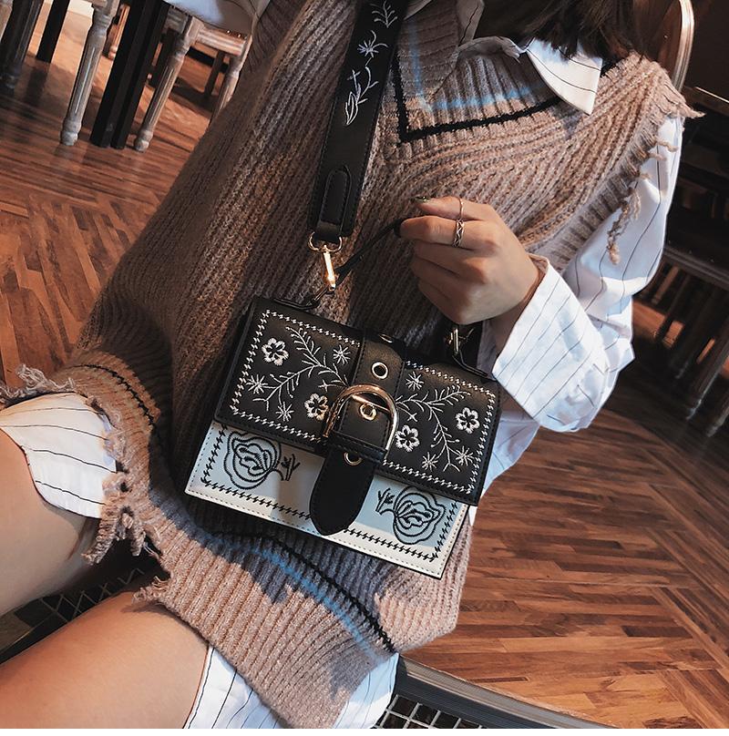 Toposhine Fashion Women Bag Panelled Vintage Flower Girls Bags for Girls Black PU Leather Women Messenger Bags Drop Shipping 7