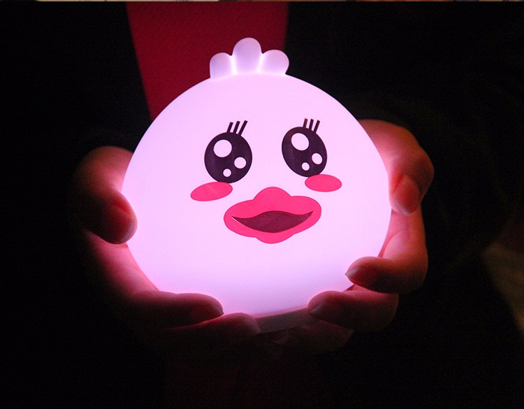 Cute Silicone glutton duck led baby night light lamp