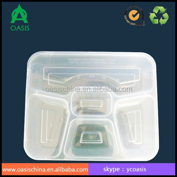 5-Compartment Microwave Safe Food Container with lid 1000ml