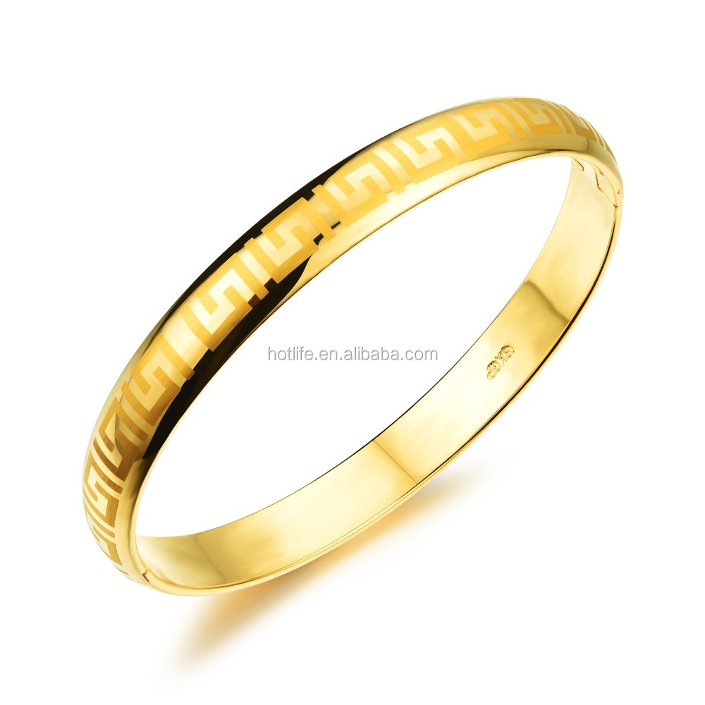 2016 new year gift 18K yellow gold plating high polishing design artificial bangle jewellery