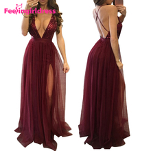 Attractive Sexy Deep V Neck Maxi Sexu Back Open Lace Evening Dress