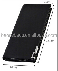 High Quality Black Long Style Leather Wallet for Male