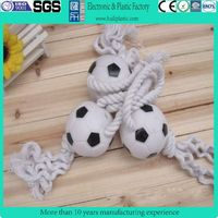 pet toys with rope/rope pet toys/vinyl football dog toy with rope