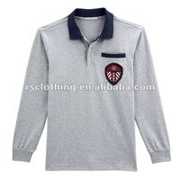 Mens Long Sleeve Cotton Pique Polo Shirt