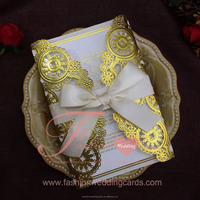Metal Gold Embossed Laser Cut Ribbon Wedding Invitation Cards