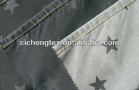 2014 spring season cotton poly and spandex discharge print jeans fabric,selvedge denim fabric