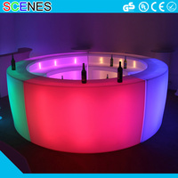 hot sale waterproof outdoor patio plastic beer garden treasures round illuminated lighting golw light up led bar furniture