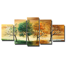 Wholesale Abstract Trees Oil Paintings 5 Pieces Landscape Canvas Art Paintings For Living Room