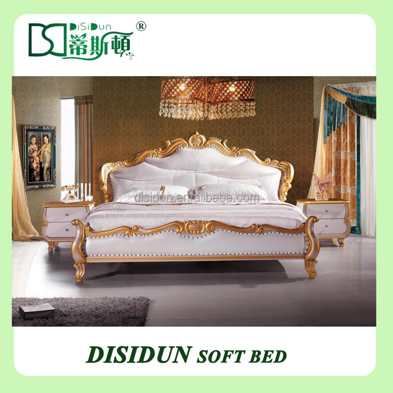 Antique design high gloss luxury wooden royal antique bedroom furniture set DS-013