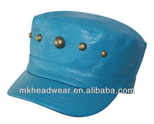 2013 Fashion Military Conductor PU Fabric Hat with antique Brass stud