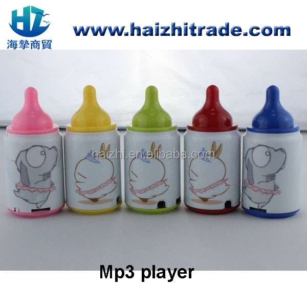 baby bottle shape digital mp3 player, with card slot, promotional gift 2014