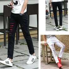 China Brand Name Red Denim Pencil Cut Defected Jeans For Slim Men