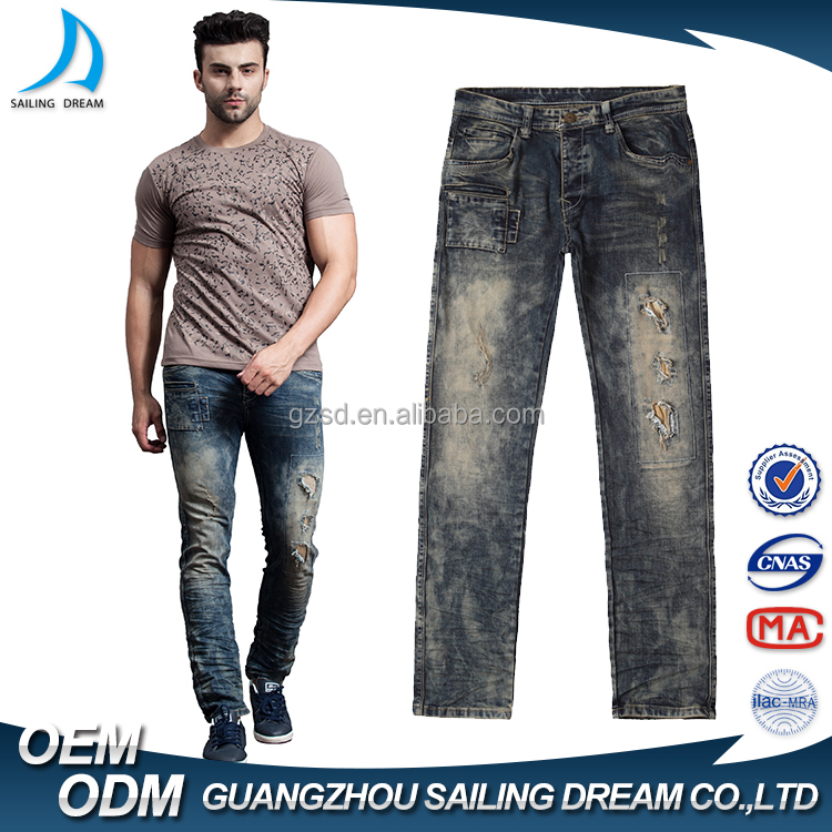 Wholesale new model breathale jeans pants new pattern alibaba tops men dollar jeans