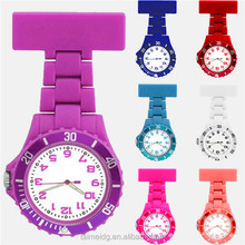 Round face rubber fob nurse watch with multiple colors, pin nurse watch, plastic nurse watch