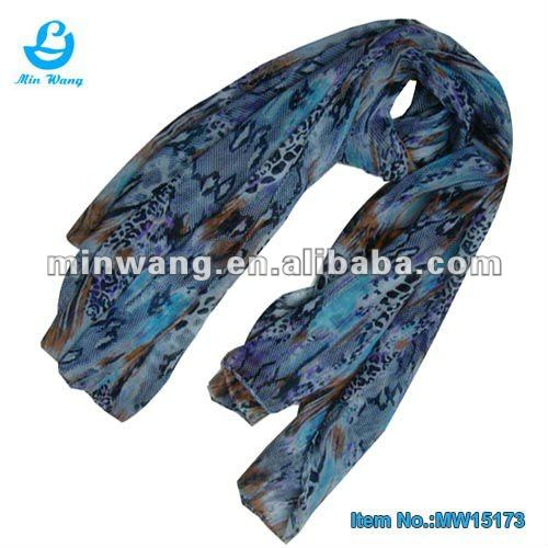 Animal Skin Cotton Voile Scarf