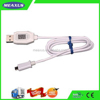 white Micro 5 Pin USB Cable For Mobile Phone with led digital indicator smartphone sync data usb cable