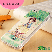 Design mobile phone cover 3D relief printing case beauty girl back Cover case for iphone5/5s