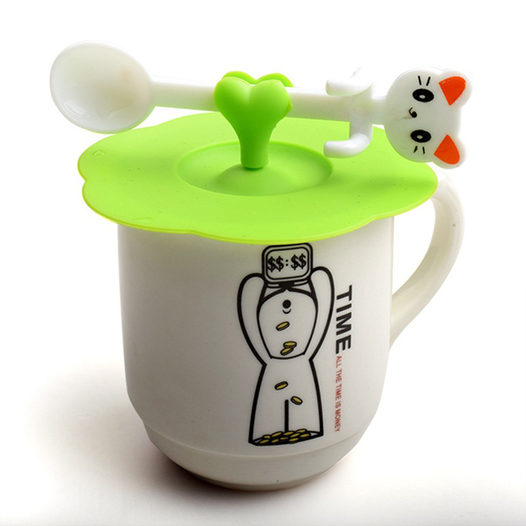 FDA Anti-dust Eco-friendly silicone rubber suction coffee tea cup seal lid with spoon holder