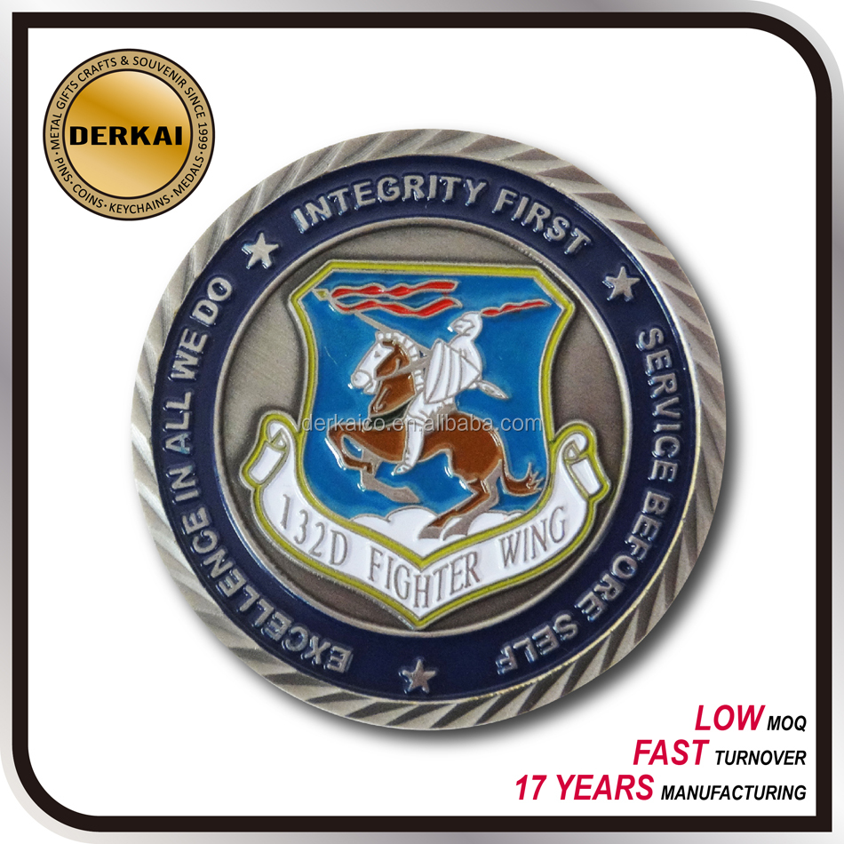 knight logo soft enamel nickel plated challenge coin for souvenir