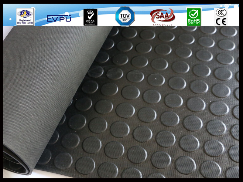 Anti slip Coin Pattern round button studded rubber colourful flooring mat