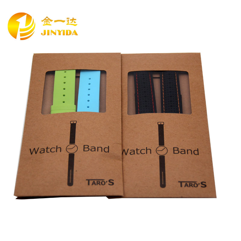 Custom Craft Kraft Paper Clear PVC Window Watch Band Packaging Bag Printed