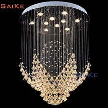 Contemporary Flush Ceiling Lighting Round Crystal Chandelier Pendant Hing Light Decoration Home