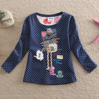 High quality 100%cotton beautiful embroidered kids girl long sleeve t shirts